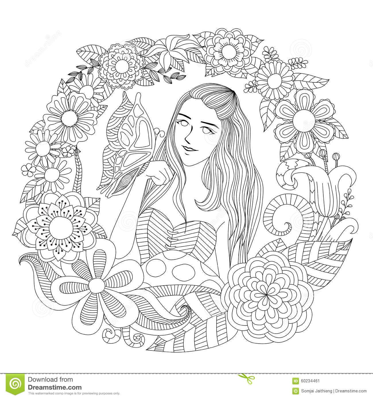 Pretty girl coloring pages - Girl Garden Pretty Playing Butterfly Flowers Line Art Coloring Page Adult 60234461 Jpg 1300 1390 Tattoo Pinterest