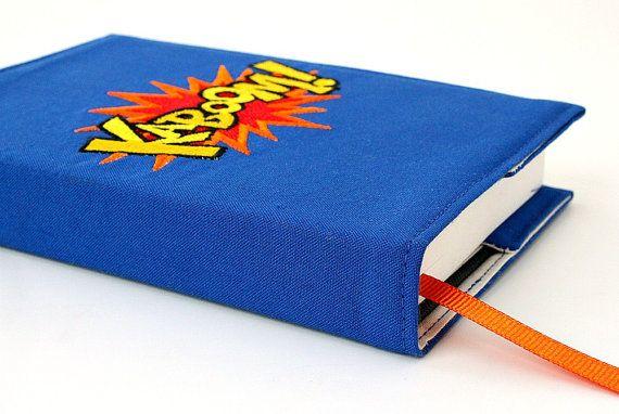Embroidered Sketchbook - fabric covered journal - notebook - artist sketch book - Superhero