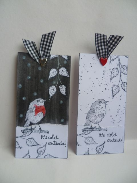 Black and white tags with robin