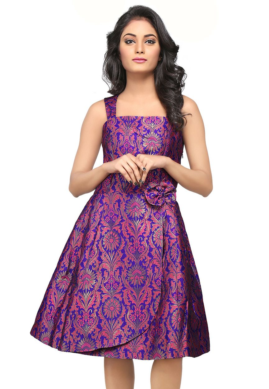 Buy Purple and Pink Brocade Readymade Flared Dress online, work ...