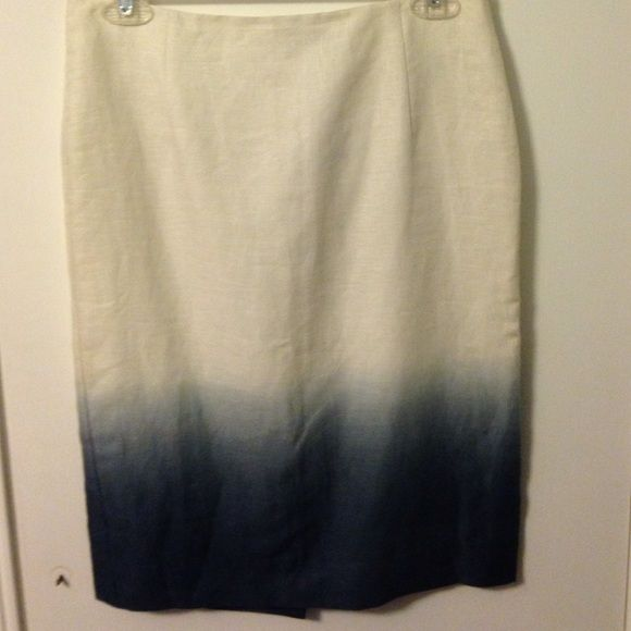 NWT J Crew Ombré Linen Skirt Size 2 Brand new J Crew pencil skirt with small slit in the back. 100% linen with polyester and cotton lining. Machine washable. 22.5 inches from waist to hem. ❌Trades ❌PayPal Bundles  Reasonable Offers J. Crew Skirts