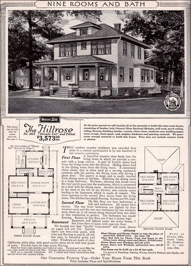 Curb Appeal Another Great Example Of Beautiful Design 1923 Sears Hillrose Vintage House Plans House Plans Four Square Homes