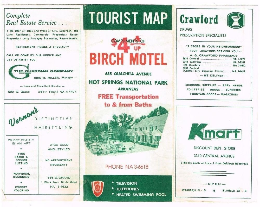 Vintage Travel Brochure Hot Springs Ar Birch Motel Map 1960 S