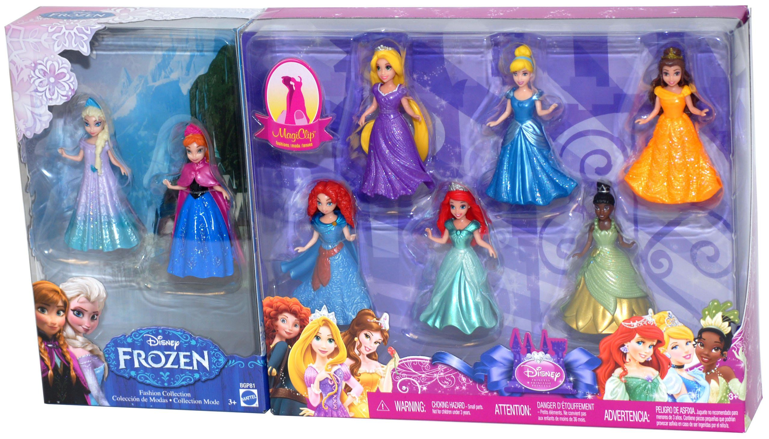 """Amazon.com: 8-PC Doll Gift Set: 3.75"""" Disney Princess, featuring Anna and Elsa from Frozen: Toys & Games"""