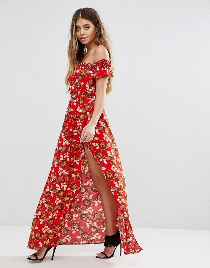 1d23e12c68 Boohoo Bardot Floral High Split Maxi Dress