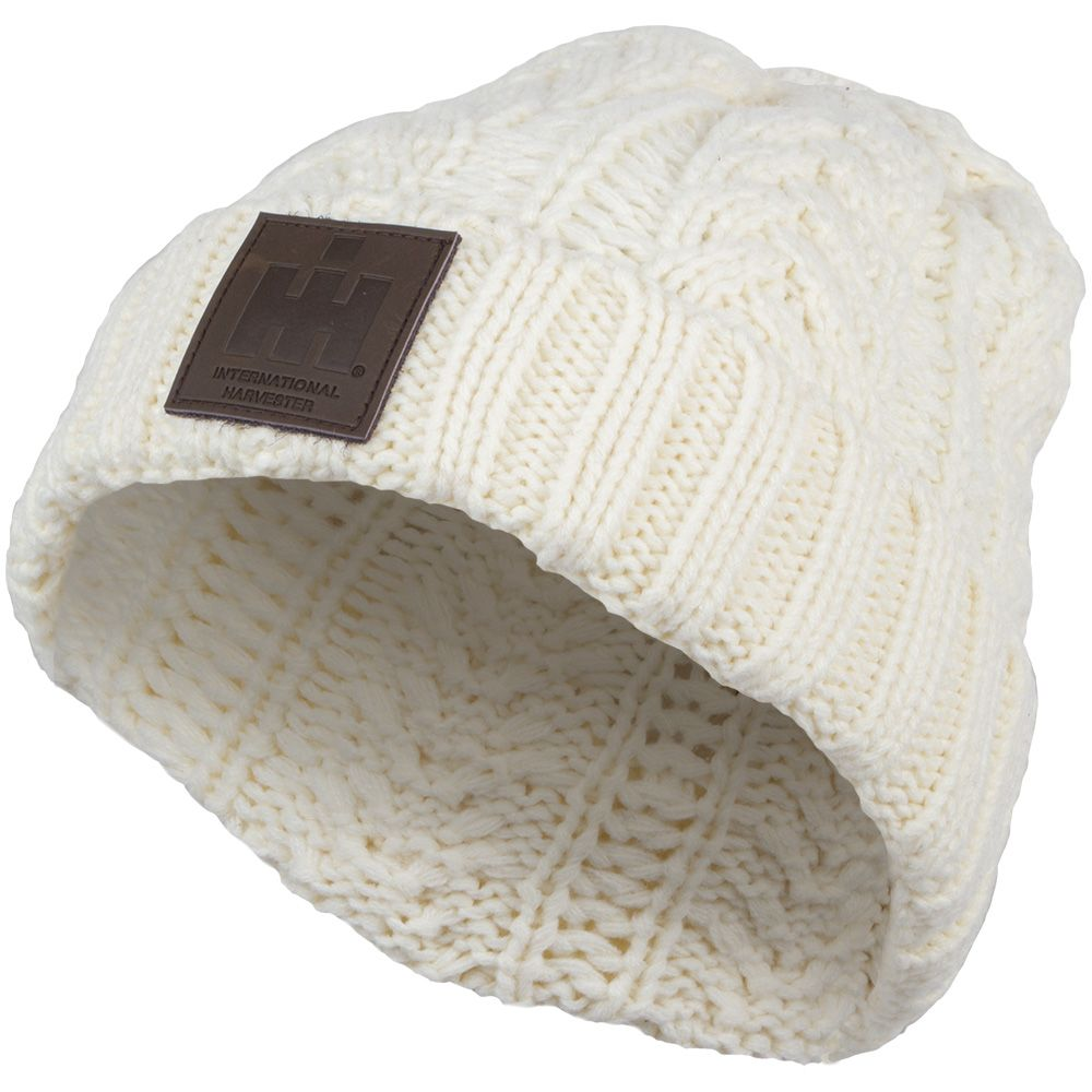 788610049e7 IH Womens  Cable Knit Hat with Leather Patch