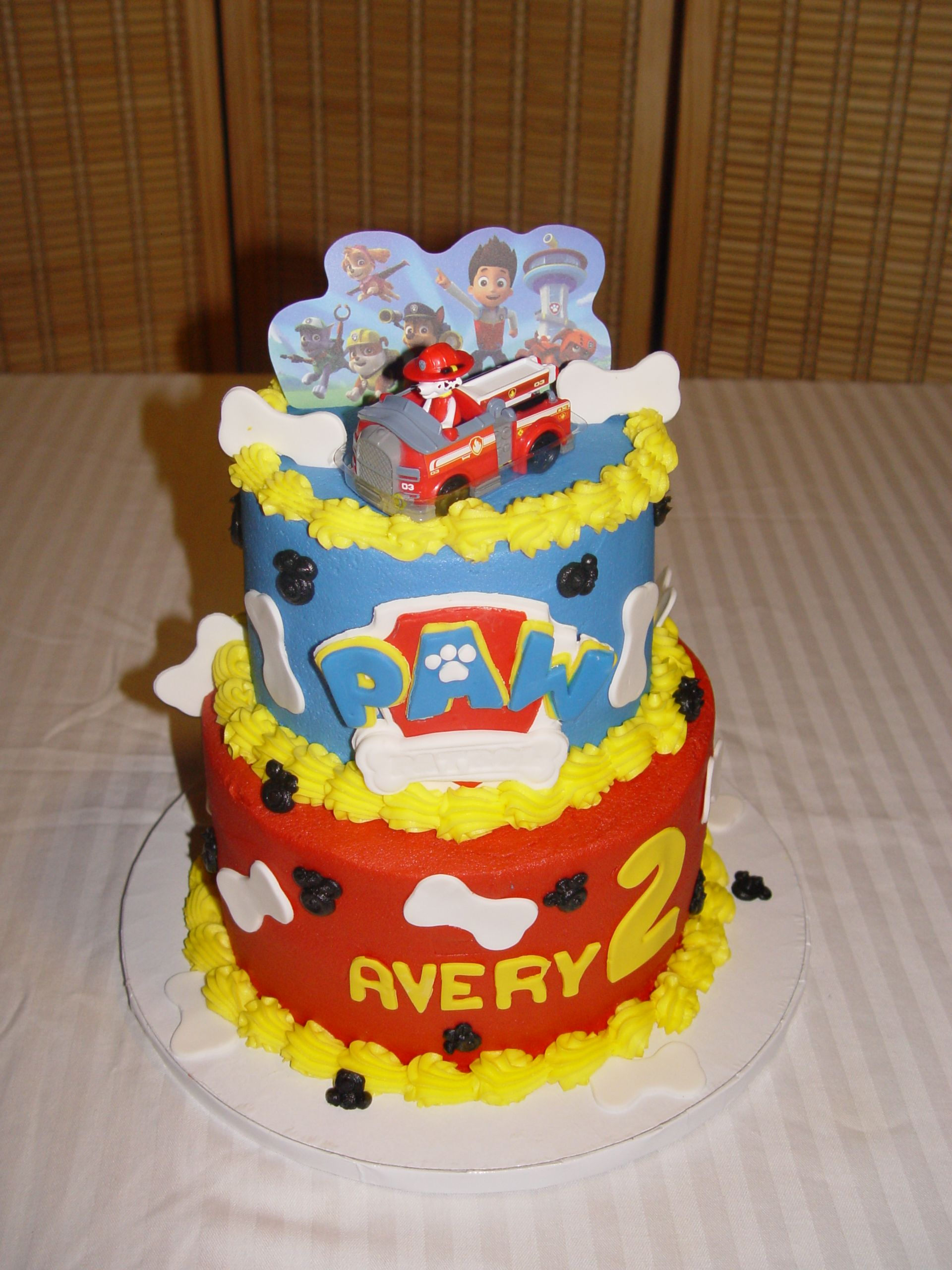 Buttercream Cake With Fondant Paw Patrol Logo Bones And Marshall Topper Birthday