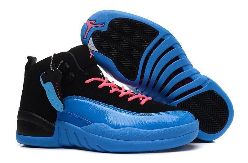 Womens Air Jordan 12 Retro Gamma Black Blue Pink  d23496195c