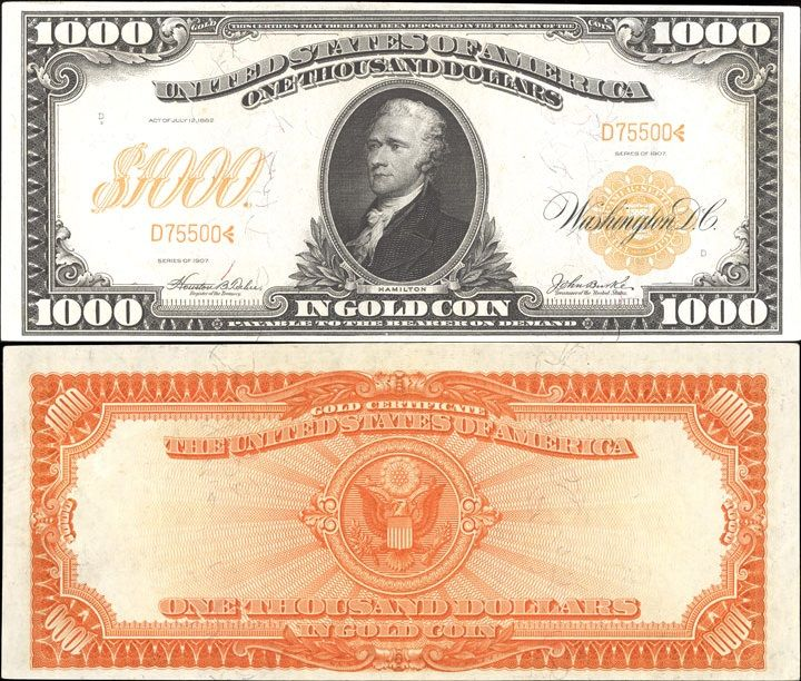 Us 1000 Dollar Note Series Of 1907 Serial D75500 Signatures Teehee Burke Eagle Great Seal Portr Money Poster Paper Currency Money Notes