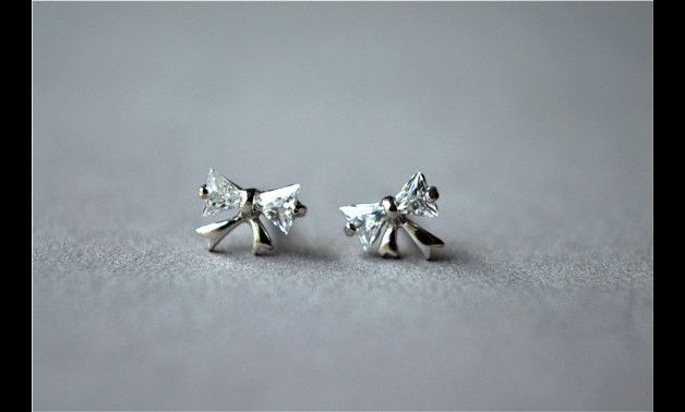 Tiny - Sterling silver zirconia bow stud earrings