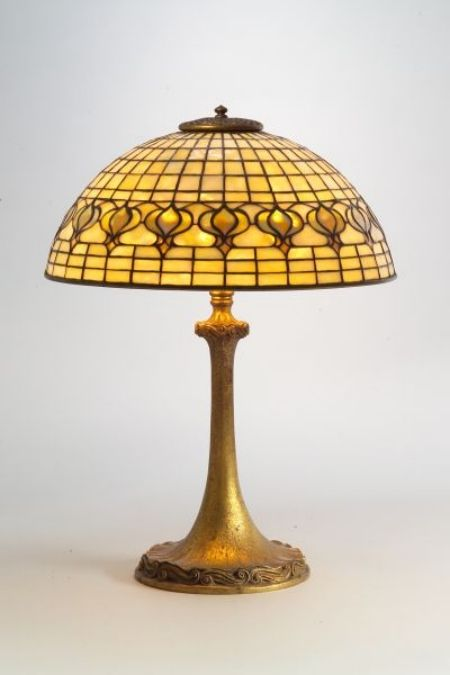 Tiffany Studios Art Nouveau Table Lamp Pomegranate Mosaic Gl And Dore Bronze Base New York C 1907 Domed Shade In Green With Border