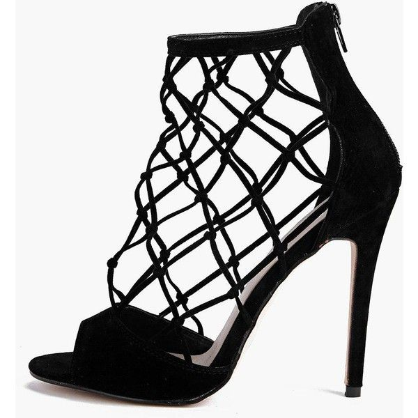 83916cec24 Boohoo Zoe Peeptoe Lattice Cage Shoe Boot ($52) ❤ liked on Polyvore  featuring shoes, boots, ankle booties, black, black ankle booties, black  wedge booties, ...