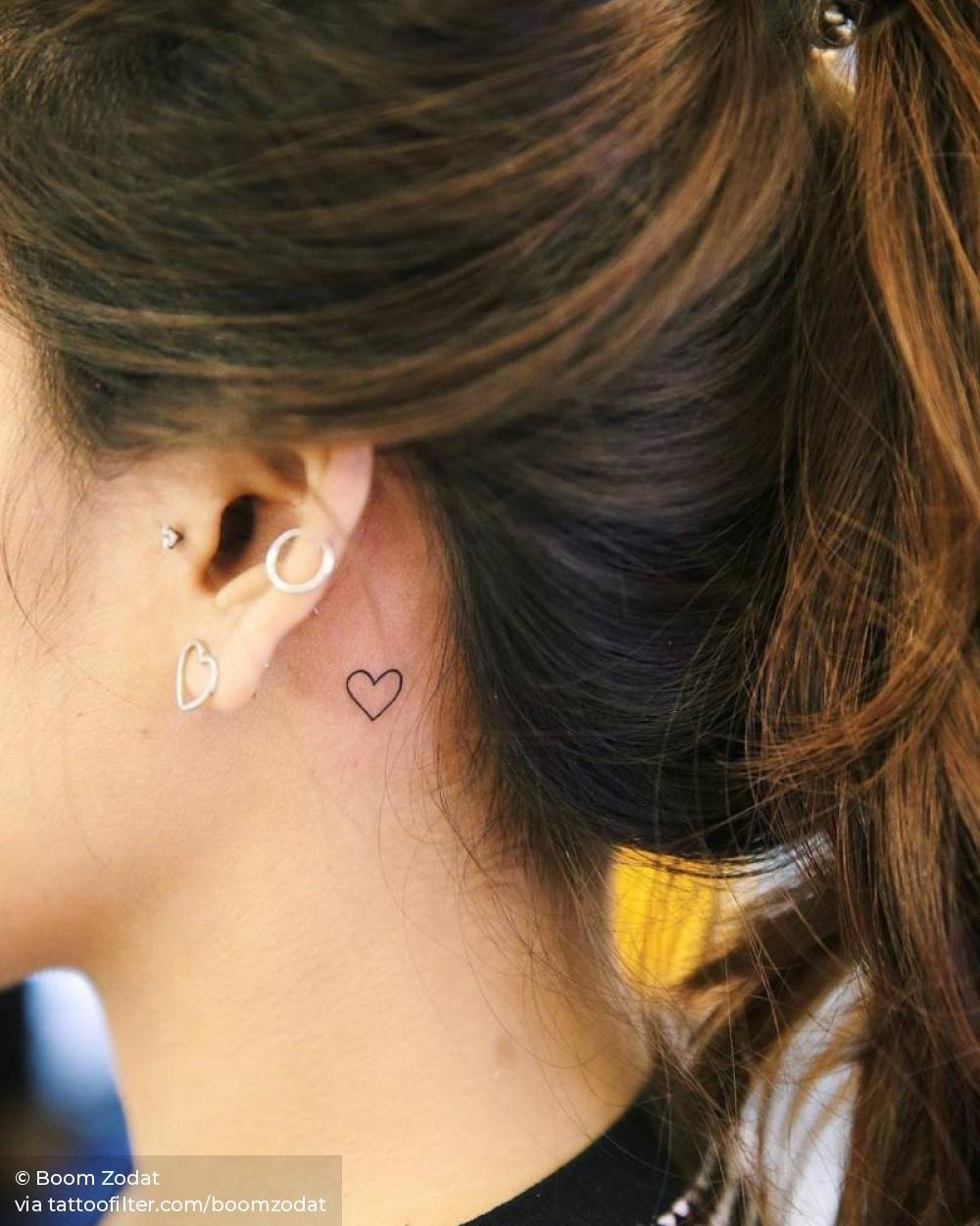 Minimalist Heart Behind The Left Ear Behind Ear Tattoo Small