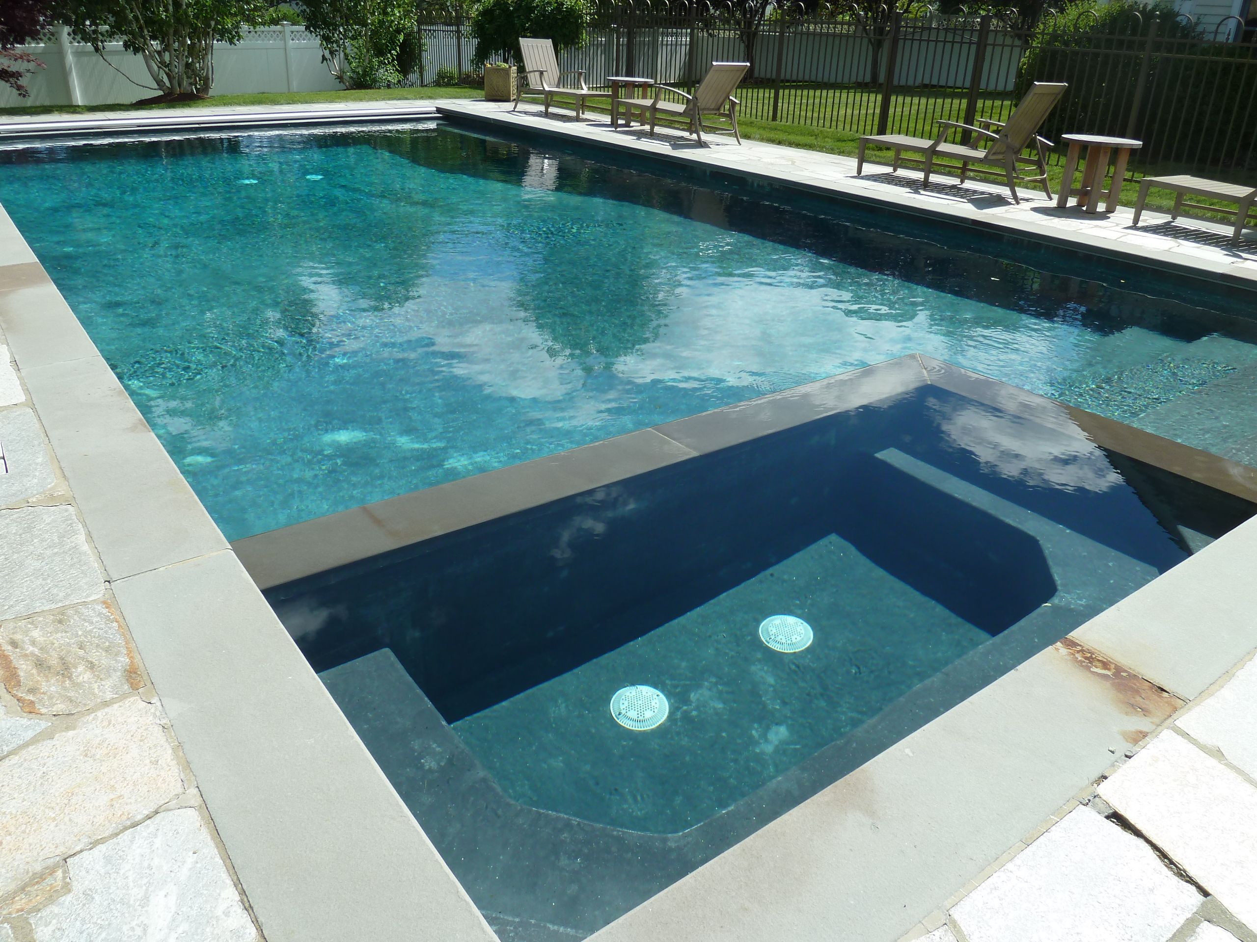 Rectangle gunite in ground swimming pool and spa with for Pool design with hot tub