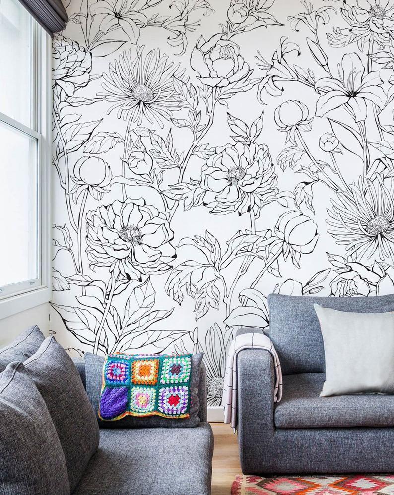 Botanical Garden Hand Drawn Flowers Accent Mural Wallpaper Line Art Flowers Extra Large Wall Art Peel And Stick Wall Mural In 2020 Flower Mural Room Wall Art Wall Art Wallpaper