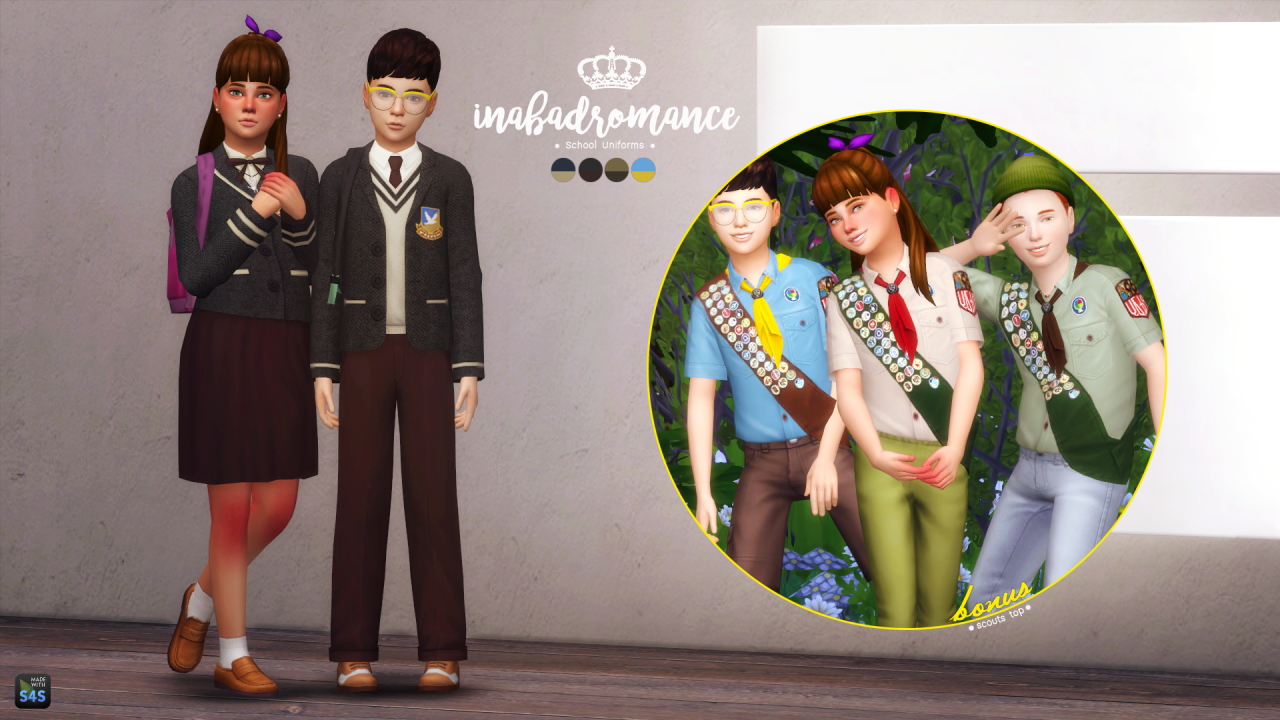 In a bad romance by Laura Peralta: School & Scout's uniforms