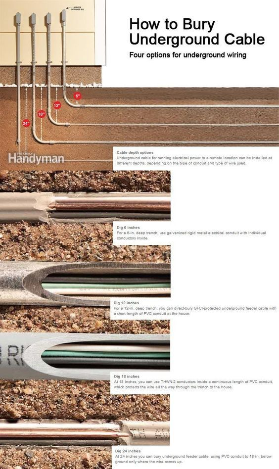 how to bury underground cable electrical wiring bury and cable rh pinterest com Outdoor Electrical Wire Types Outdoor Electrical Conduit