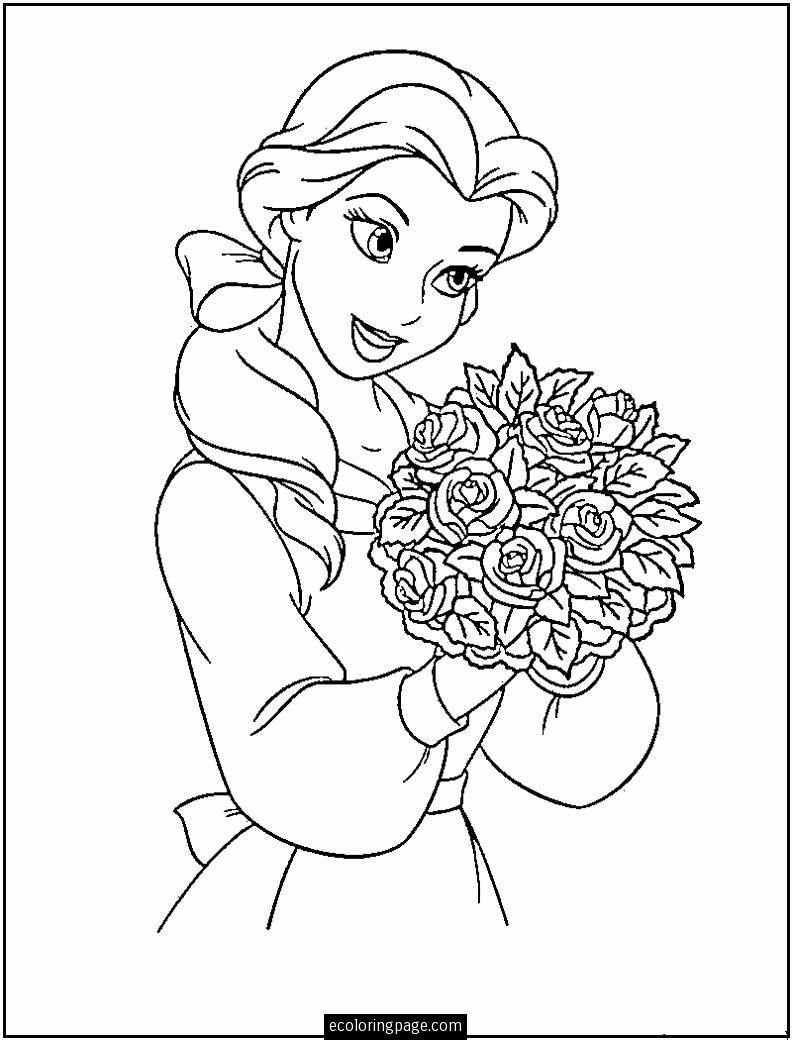 Princess With Roses Coloring Page 792x1040 Pixels