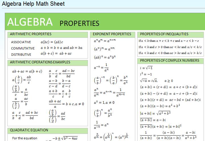 Algebra homework help formula e or formulas