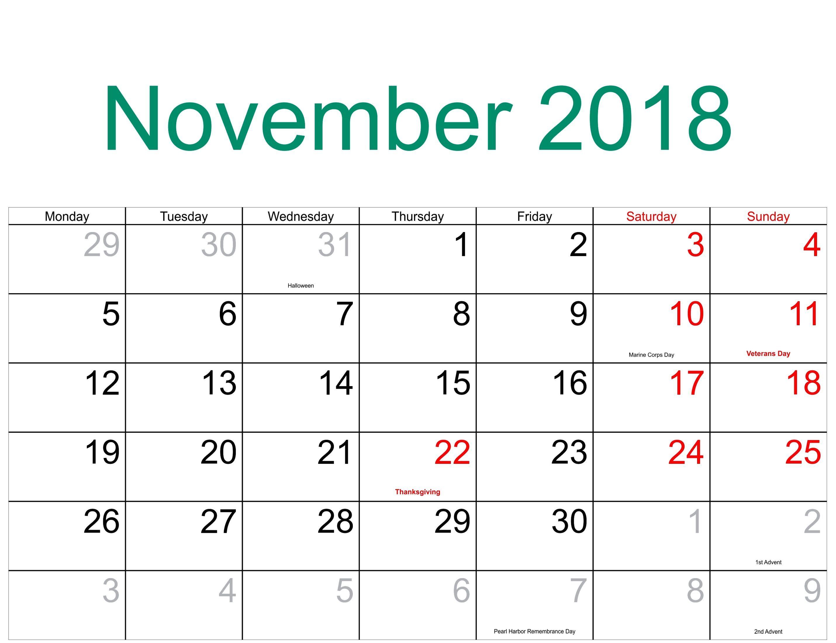 November 2018 Calendar With Holidays 2018 Calendar Printable