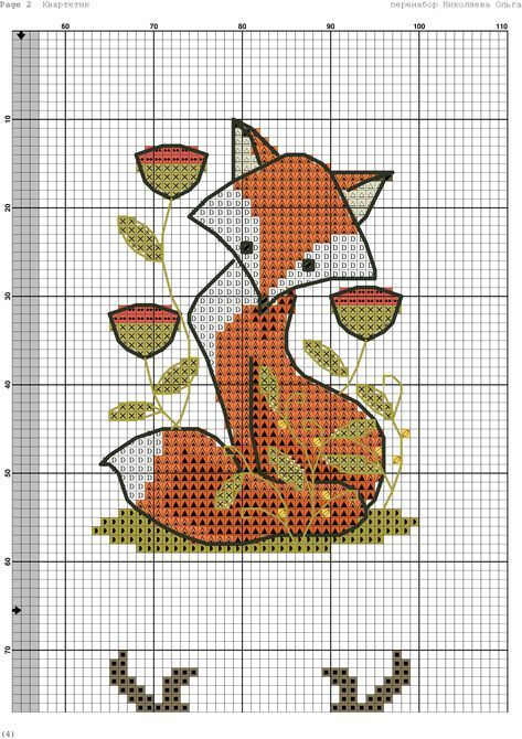 Cross Stitch Fox Free Chart Cross Stitch Bookmarks Cross