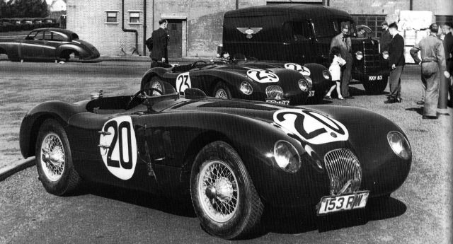 The winning Jaguar C of Peter Walker and Peter Whitehead before the 1951 Le Mans