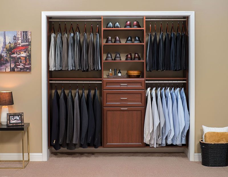 Cognac Premier Mens Reach In Custom Closet Design Closet