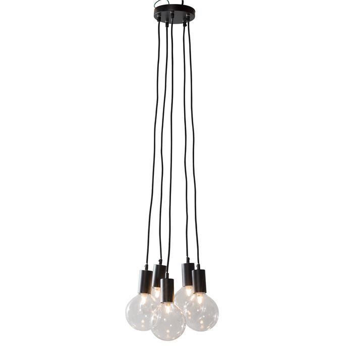 metalen hanglamp nova met zwart modulasysteem met 5 lampen hoogte