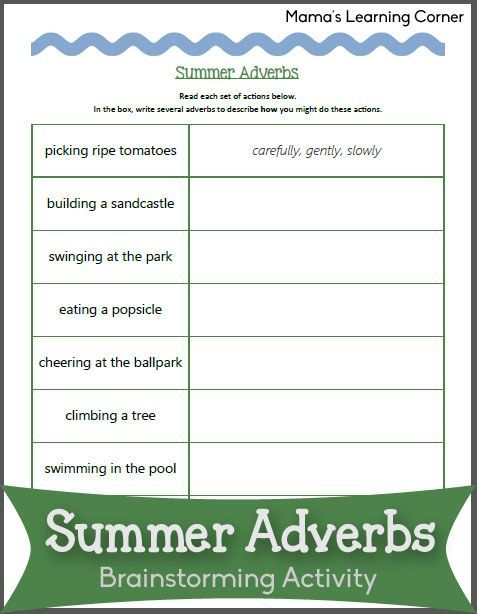 Summer Adverb Worksheet Adverbs Worksheet Adverbs Adverb Worksheet Adverbs worksheet 3rd grade