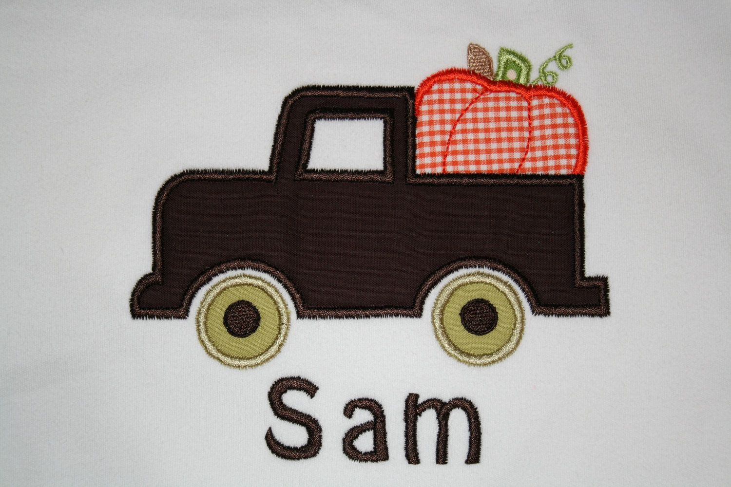 Pumpkin Truck Applique by StitchedsoSweet on Etsy, $20.00