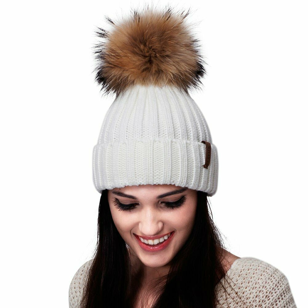 Ocosy Womens Knit Slouchy Winter Beanie Hat Chunky Baggy Hat with Faux Fur Pompom Winter Soft Warm Ski Cap