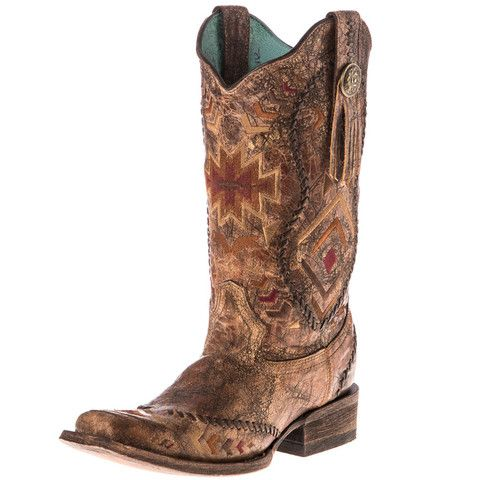4c7f5532d429 Corral Women s Multicolor Ethnic Pattern and Whip Stitch Square Toe Western  Boots  C2915