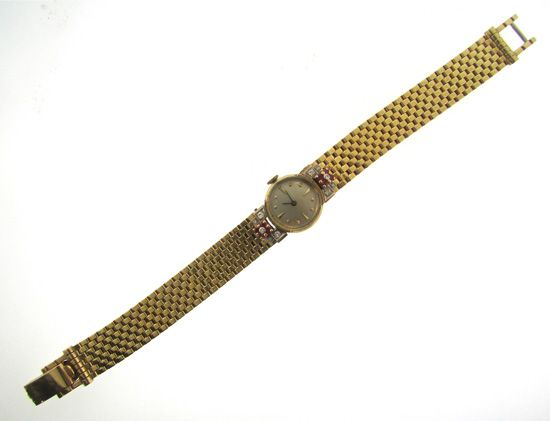 Retro Pink Gold Ruby and Diamond Watch