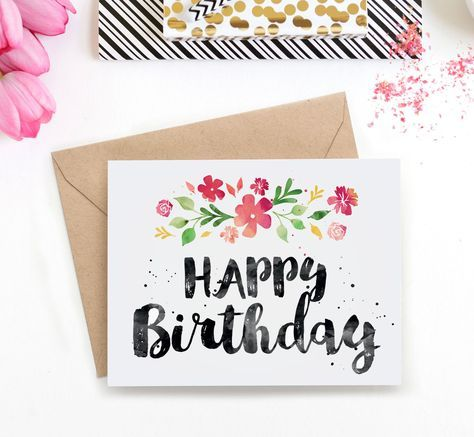 Printable Birthday Card Spring Blossoms Watercolor Birthdays