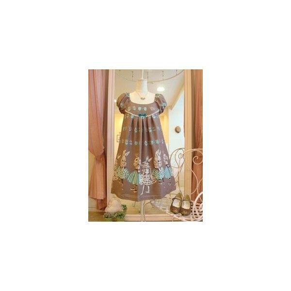 Honey Honey Bunnies Tea Party High Waist Lolita Jumper Dress ❤ liked on Polyvore featuring dresses, tea dress, tea party dresses, high waist dress, bunny print dress and rabbit print dress