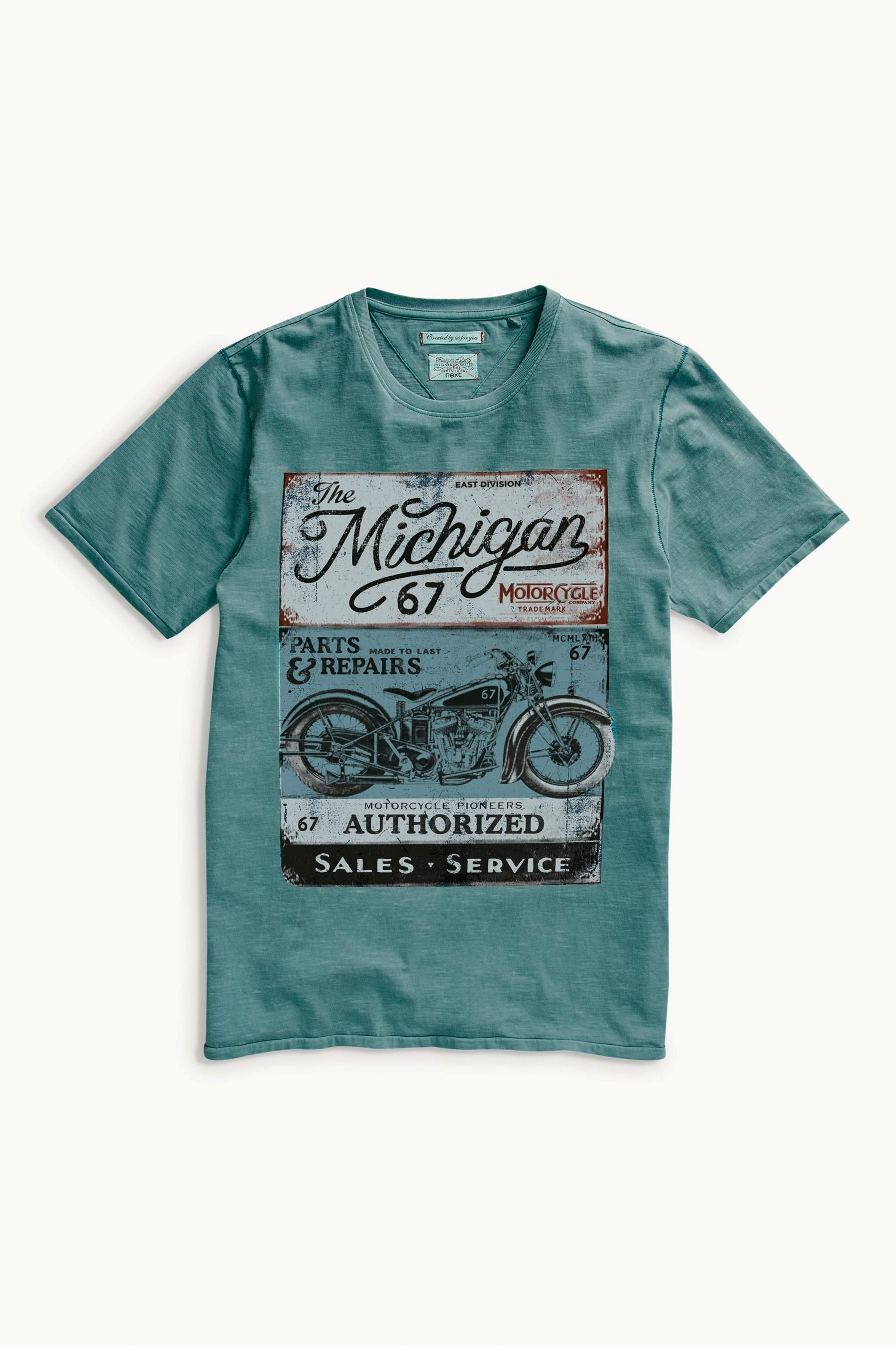 835aab8163 Acheter T-shirt Michigan Motor bleu sarcelle en ligne sur Next   France  Camisetas Estampadas