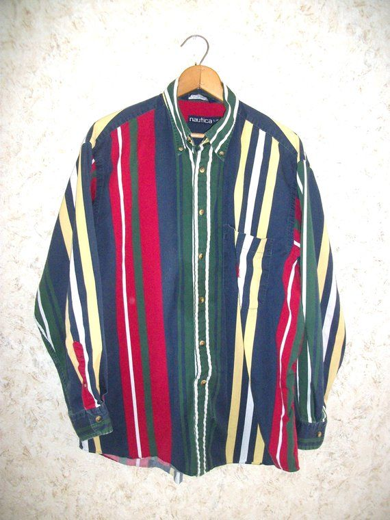 63e50a67fe833 90s Nautica Rainbow Striped Shirt Button Front Long Sleeves 1990s Hip Hop  Shirt Hipster Cotton Mens Large
