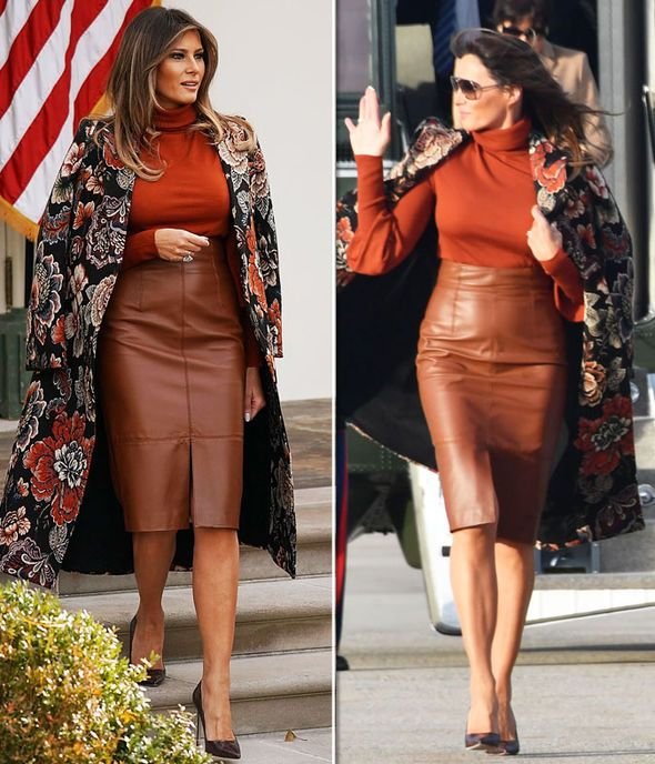 Melania Trump wears SEXY leather skirt to join Donald Trump and Barron