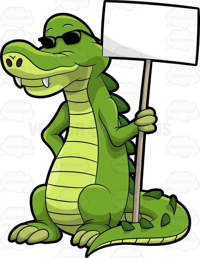 Arthur the alligator holding a signboard #cartoon #clipart ... - photo#40