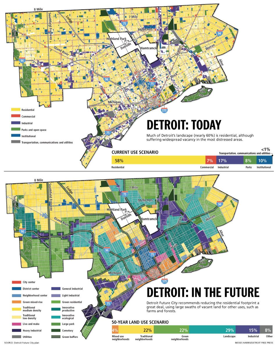 Detroit before and after Future City plan. | Michigan ...