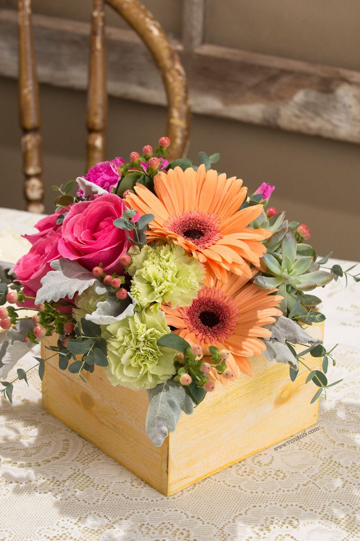 Flourish Classic By Viviano Flower Shop Rustic Wooden Box Of