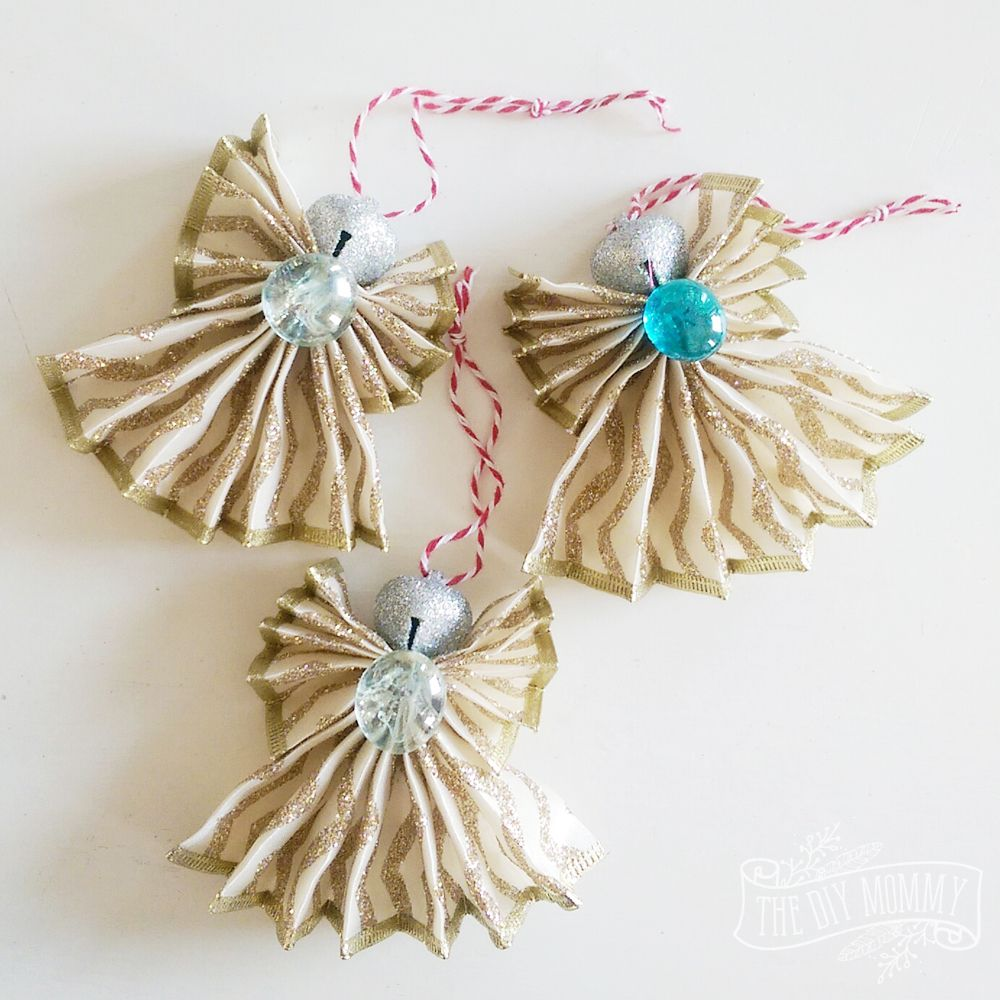 How to Make A Christmas Angel Ornament out of Wired Ribbon (A Kid's Craft #ribboncrafts