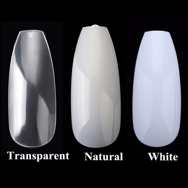 100pcs/box Nail Tips Full Nails Coffin Shape Artificial French ...