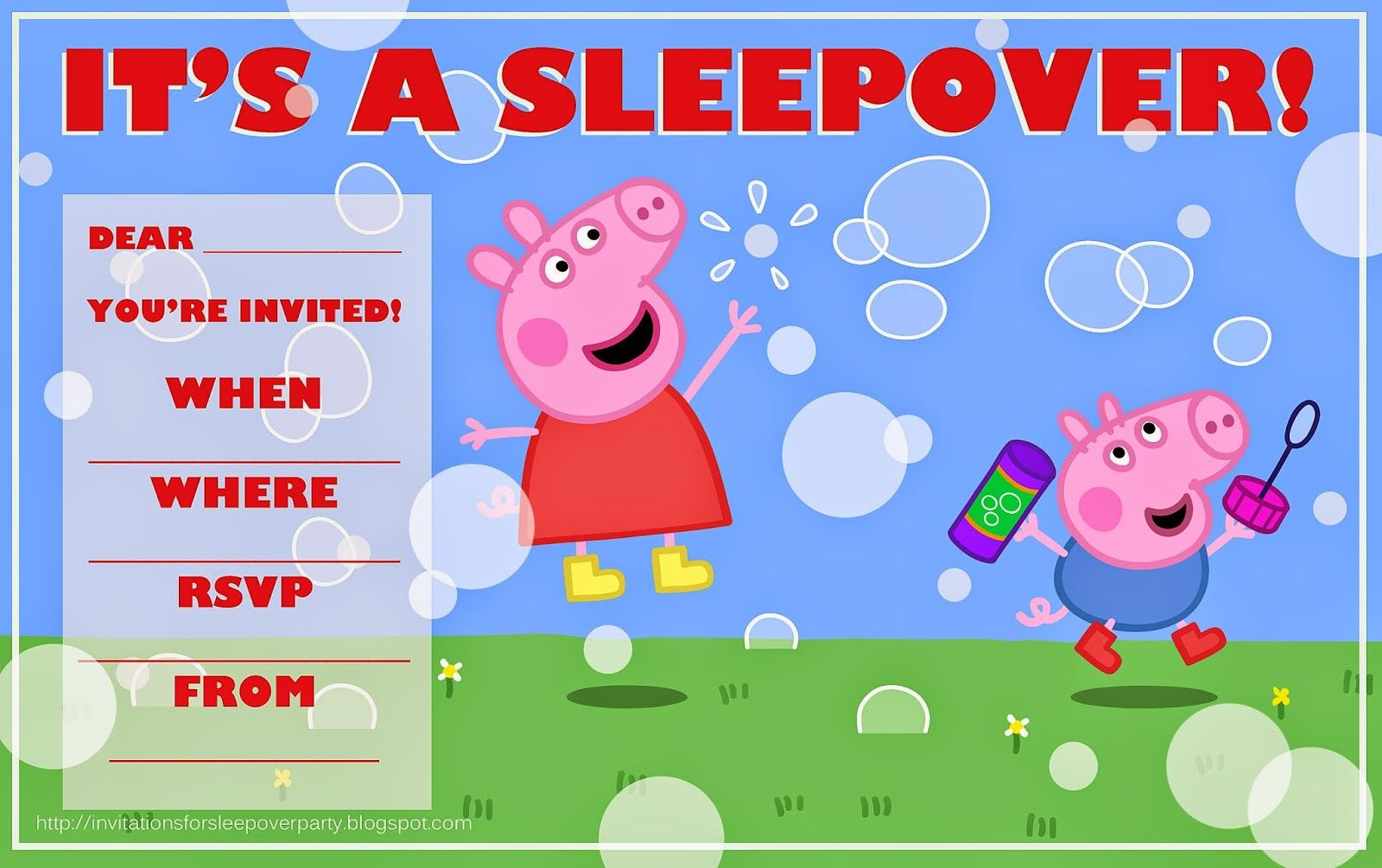 Free printable Peppa Pig party invitation  - for a sleepover party and one for a 'normal' party. See also the  cool Peppa Pig face mask you can print for your party FROM THIS SAME WEBSITE ON THE SAME PAGE AS THIS INVITE.