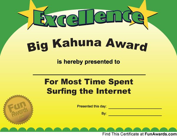 Awarded for those friends who do more surfing than work! Funny - free printable certificate of recognition