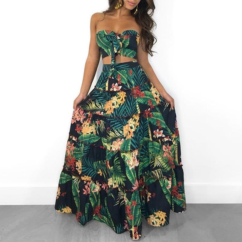 fb8c1ce31a8 Strapless Two Pieces Dress Suit Set PU22