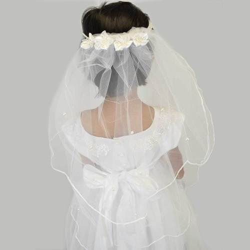 Gorgeous Pearl V Shape Communion Veil - Nooridresses