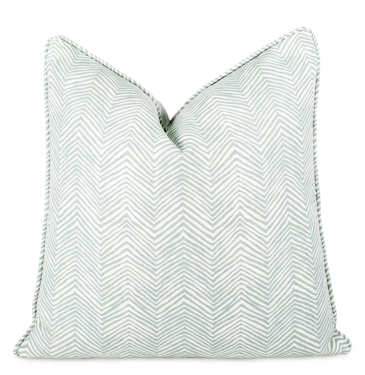 """China Seas Bali Zig Zag Throw Pillow, self welt with invisible zipper closure, down insert included, 22""""sq, $135"""