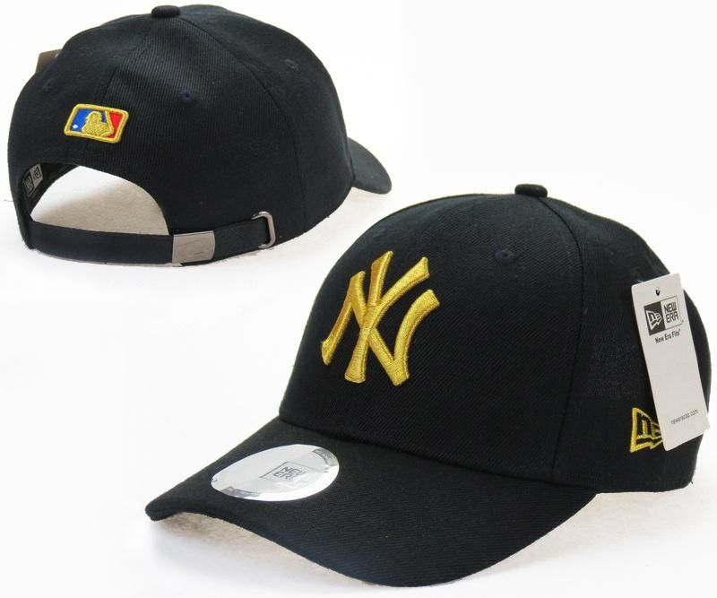 b3a8c23310f20 Mens   Womens New York Yankees New Era Solid 6 Panel Strap Back Baseball  Adjustable Polo Cap - Black   Gold