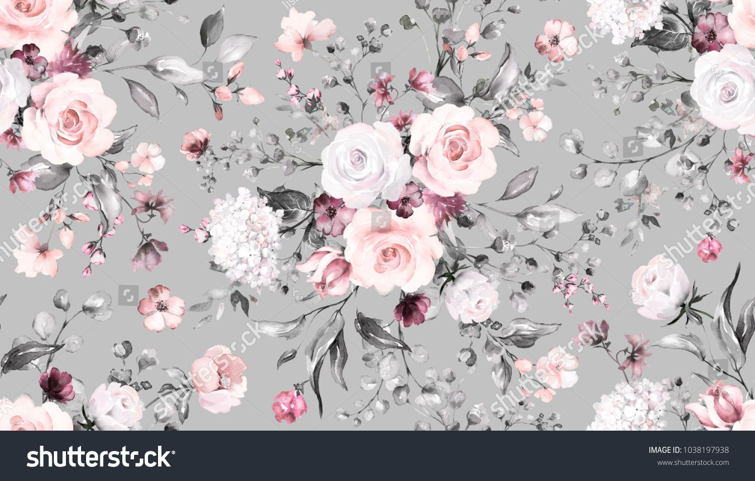 Seamless Pattern With Spring Flowers And Leaves Hand Drawn